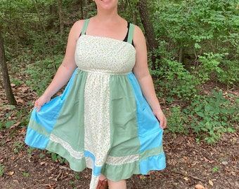 Blue and Green Prairie Vintage UPcycled Apron Top Hippie Short Sun Dress w/ Corset Back HANDMADE by KNOTTYMAMA Sun Dress PLUS Size 20 D Cup