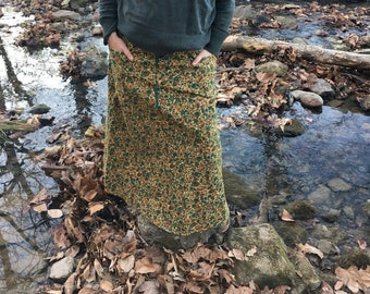 Maxi SKirt Gold Paisley and Teal Flower VINTAGE Medium Weight Cotton Full length Skirt by KNOTTYMAMA size 18 Plus Size Skirt