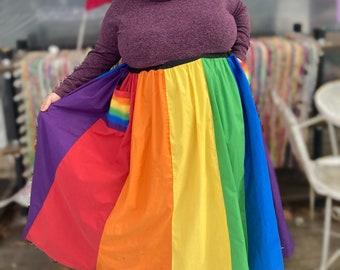 Rainbow Handmade Maxi Length Skirt  by KNOTTYMAMA size 2X-6X  Full Length MAxi  skirt PlUS SIZE Aline skirt with  pockets Hippie Skirt