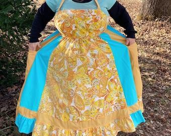 Kaleidoscope of Butterflies Dress  Vintage UPcycled Apron Top Hippie Dress w/ Corset Back HANDMADE by KNOTTYMAMA Sun Dress PLUS Size 26DD