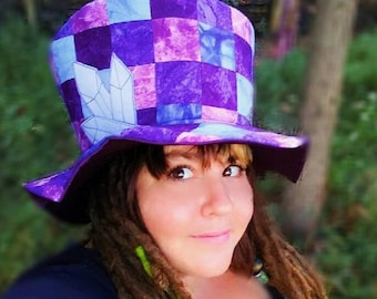 Crystal Queen Top Hat   Hand dyed and  UpCycled Patchwork Festival Hat Hippie Hat