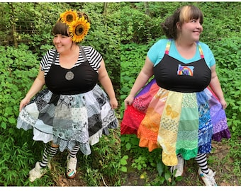Patchwork CUSTOM ORDER Made Just for You Earth Goddess PLUS Size Hippie Dress Upcycled Sundress Fairy Dancing Ruffle Plus Size 16 - 32