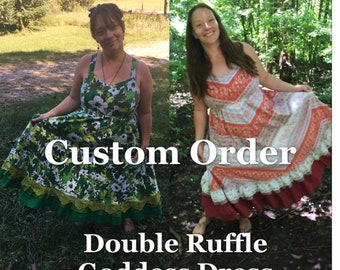 CUSTOM ORDER Made Just for You Earth Goddess PLUS Size Hippie Dress Upcycled Patchwork Sundress Fairy Doubke Dancing Ruffle Plus Size 16-32