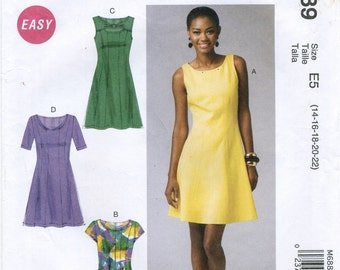 7ccd8a07ee19 Stretch Knit Fitted Dress Sewing Pattern Plus Size 14 16 18 20 22 McCall s  6889 UNCUT Scoop Peek-a-Boo Neckline