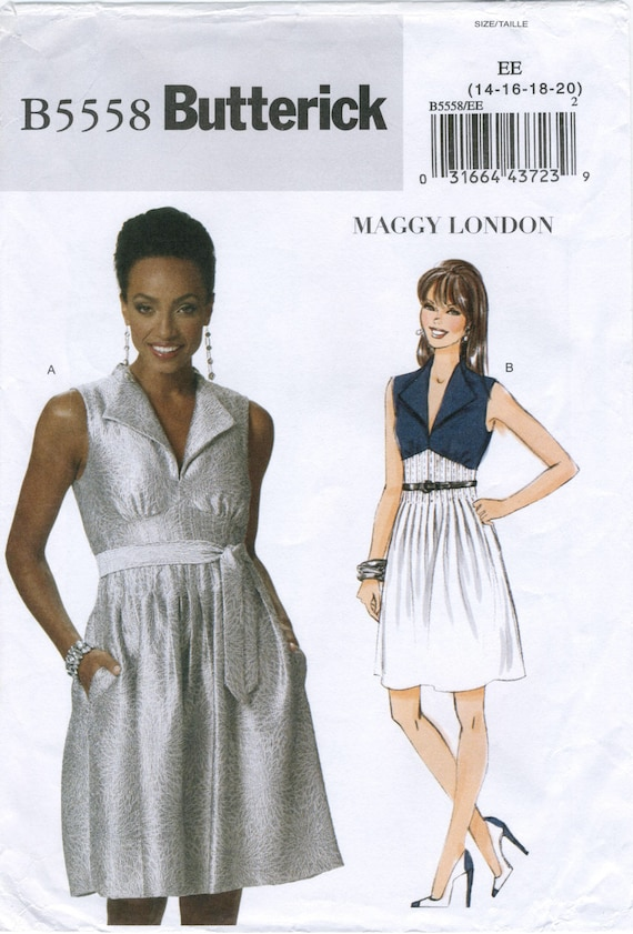Glam Empire Waist Lined Dress Sewing Pattern Plus Size 14 16 18 20 ...