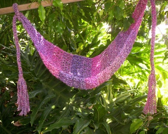 Crocheted Baby Hammock Photo Prop Only SUPER SOFT Ready to ship ( Mixed berries )