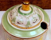 Victorian Mint Green and Gold German Porcelain Ink Well