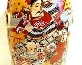 Antique Satsuma Moriage Samurai Ware Meiji Pottery Vase
