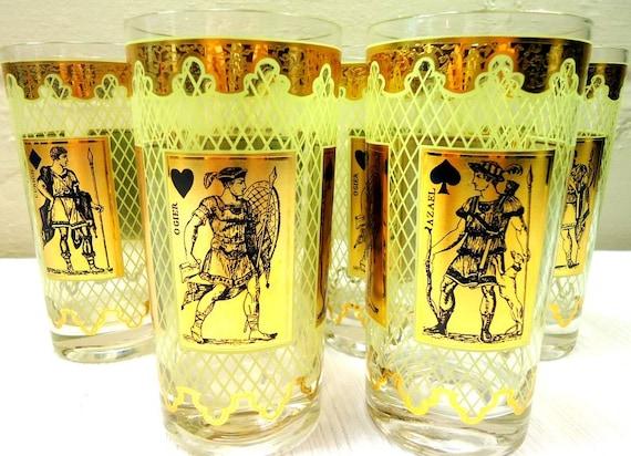 Set of Six Mid Century Heroes Bareware Drinking Glasses