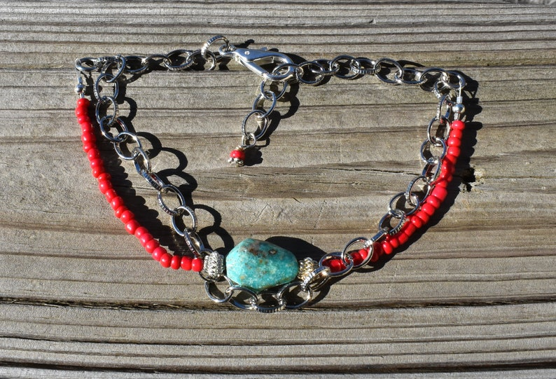Turquoise Silver Boot Chain Red  Bling Bracelet Jewelry for Rodeo Western Ag FFA County Show Biker Stock Show 4H Rustic Wedding Country Prom