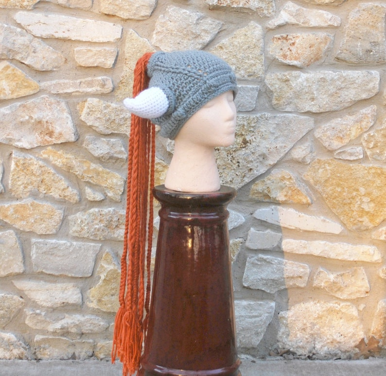 eeaa9468d Viking Hat Crochet Red Helga Braids Helmet With Horns Woman Large Warrior  Cosplay Hat Halloween Costume WOW Ready to Ship Shield Maiden