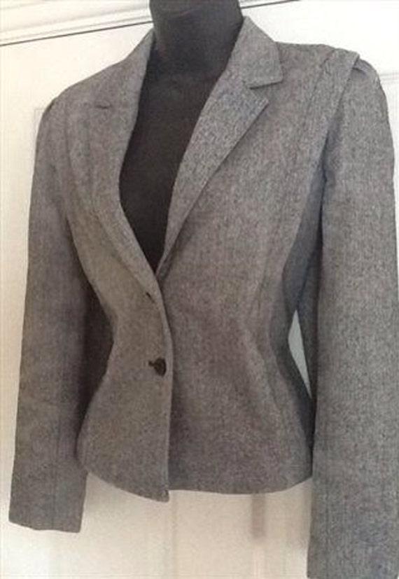 Vintage 80s C&A herringbone tweed short jacket bla