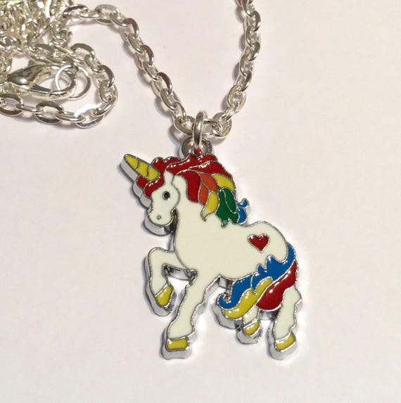 """I REALLY AM A UNICORN  Necklace 18/"""" Silver plated Chain Enamel Charm Gift"""