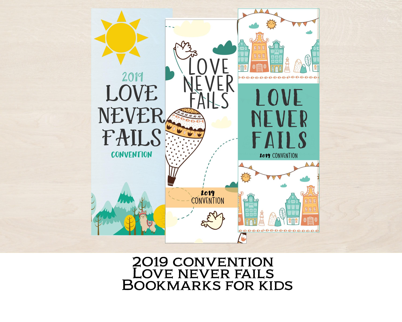 Jw convention bookmark/ Love never fails/Jw gift for kids/ Printable card/  Digital Download