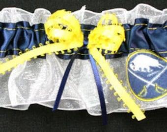 Buffalo Sabres Hockey Themed Wedding Garter Set Lace and Satin Bridal Garters