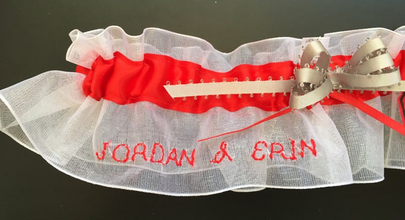 Handmade Can Be Personalized Chicago White Sox Wedding Garter Set
