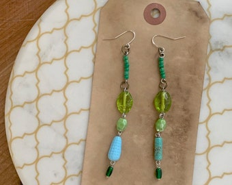 upcycled long dangle mixed bead earrings boho bohocore green glass vintage handmade bespoke jewelry