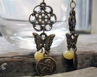 Yellow Jade Necklace and Earrings Antique Brass