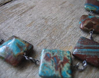 Stamped Heart Metal and Jasper Long Necklace