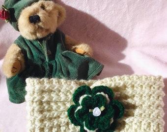 Crocheted Toddler Headband EarWarmer Crocheted Flower