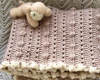 Crocheted Baby Afghan, Crib Blanket Baby Boy/Girl in Almond White w White Border