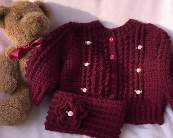 Crocheted Irish Knit Sweater & Headband Burgundy Infant Girl 6 12 mo  FREE SHIPPING