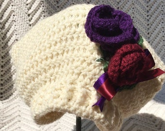 Crocheted Infant Slouchy Beret Off White w Crocheted Roses 9 - 18 mo