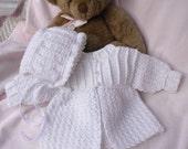 Crocheted Newborn Sweater Bonnet Baby Girl White 0 3mo Custom Order