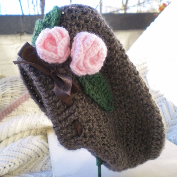 Crocheted Infant Slouchy Hat Beret Mink Brown w Pink Roses  4bc19aab910