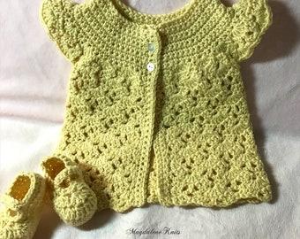 Crocheted Infant Sweater & Maryjanes Primrose Cashmerino Yarn