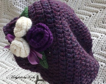 Crocheted Infant Slouchy Beret Passion Heather w Flowers 12-28 mo
