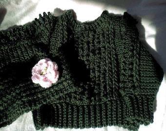 Crocheted IrishKnit Pullover Sweater 2T Sage Green  w. Headband