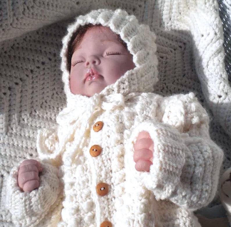Crocheted Baby Irish Knit Sweater Hat Newborns Infants Custom image 1