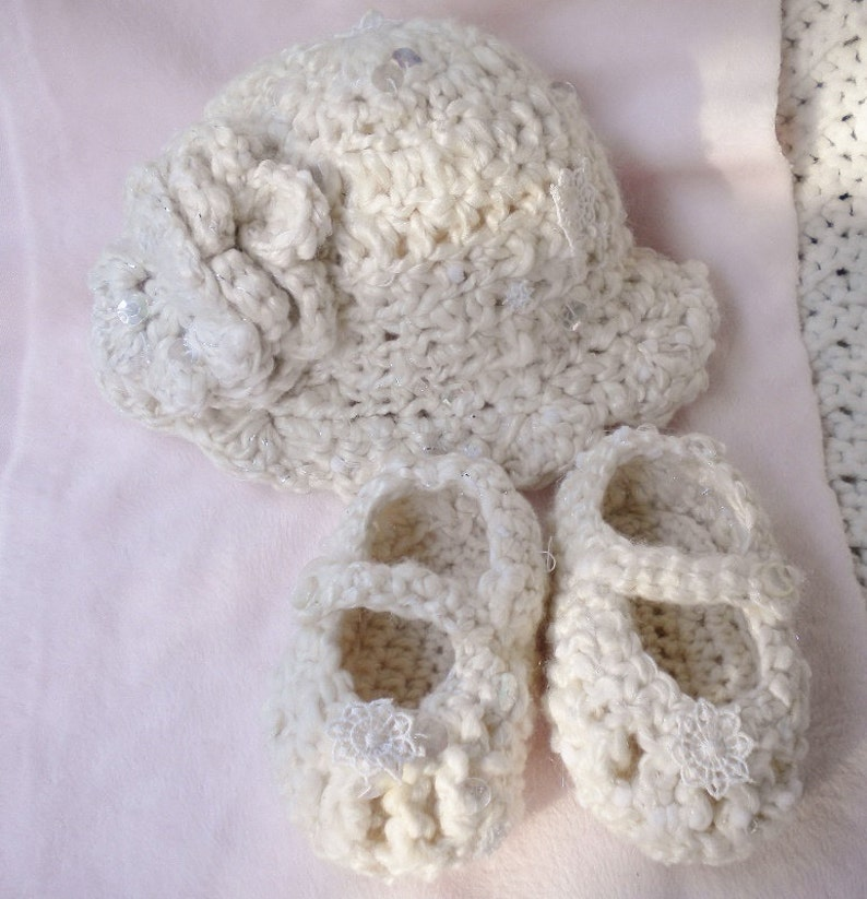 Crocheted Infant Winter Hat & MaryJanes Lace Snowflakes Art image 0