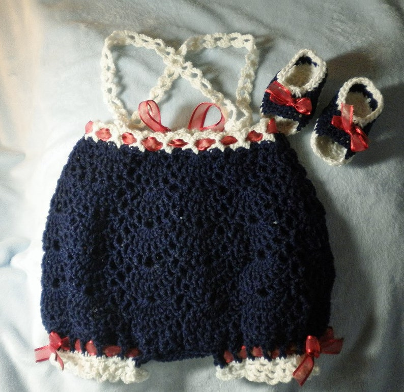 Crocheted Infant Romper Sunsuit Crocheted Sandals Infant 3-6 image 0