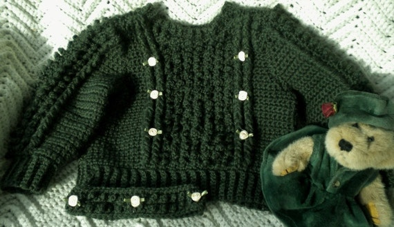 Crocheted Irish Knit Sweater &Headband Deep Sage Infant 12 18mo