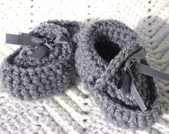 Crocheted Baby Moccasins Heather Grey Newborn & Infant Sizes