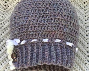 Crocheted Cloche Hat Toddler Girl Merino Wool Tweed