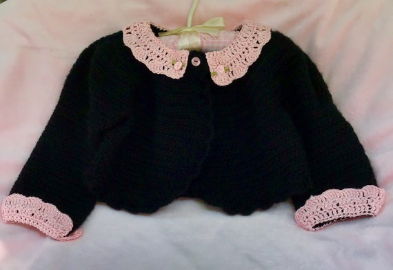 Crocheted Toddler Bolero Sweater Noir w Pink Lace Collar Cuffs 2T 3T