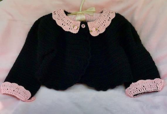 Crocheted Toddler Bolero Sweater Noir w Pink Lace Collar Cuffs 2T 3T