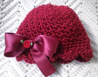 Crocheted Newborn Cloche Hat Baby Girl Autumn Red Scalloped Edging w Satin Bow  FREE SHIPPING