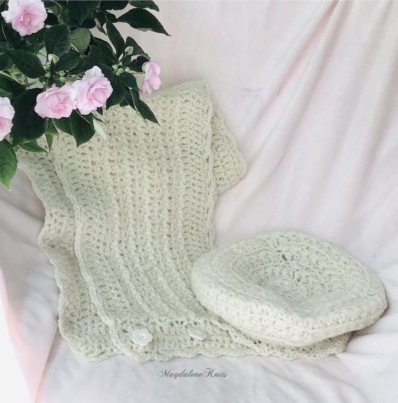 Crocheted Cowl & Slouchy Tam Winter White Bulky Yarn image 0