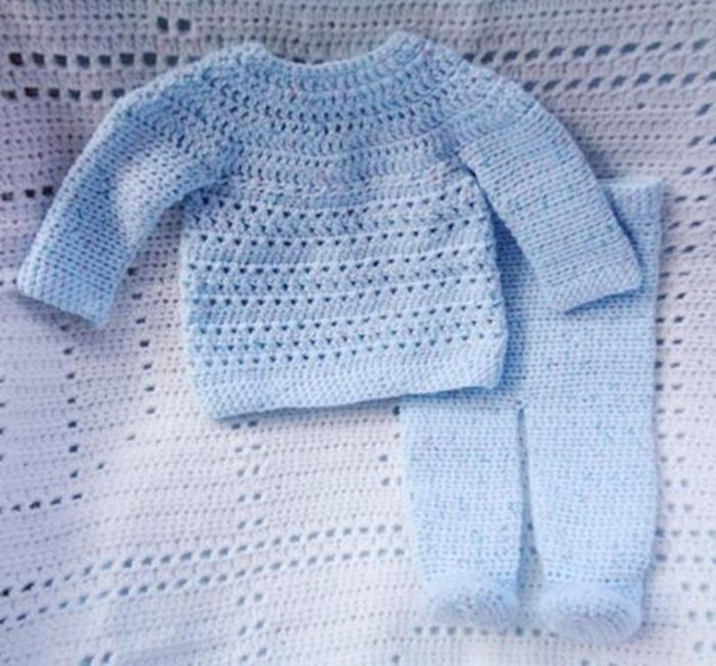 Crocheted Newborn Top Pants Set Baby Boy Blue image 0
