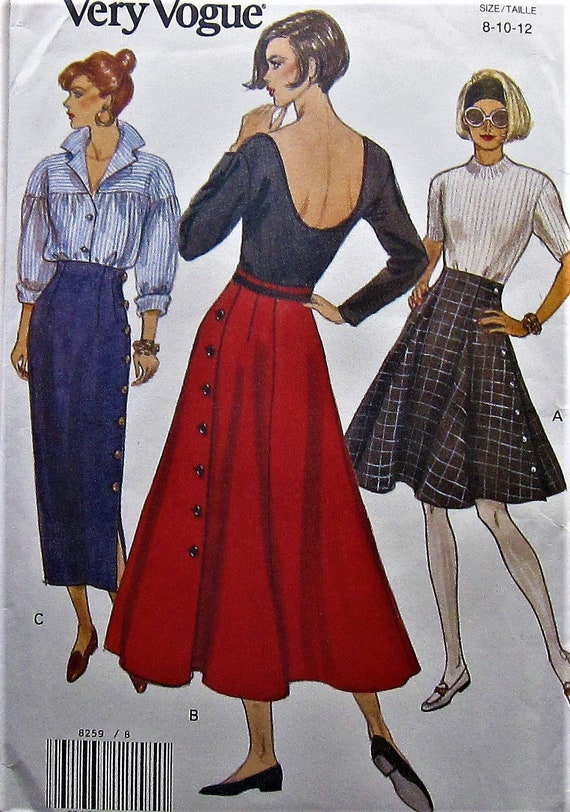 a47b0aff32844 Skirt Sewing Pattern UNCUT Vogue 8259 Sizes 8-12