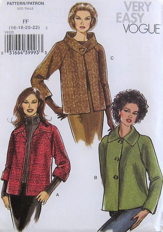 Jacket Sewing Pattern Uncut Vogue V8123 Sizes 16 22 Plus Size Etsy