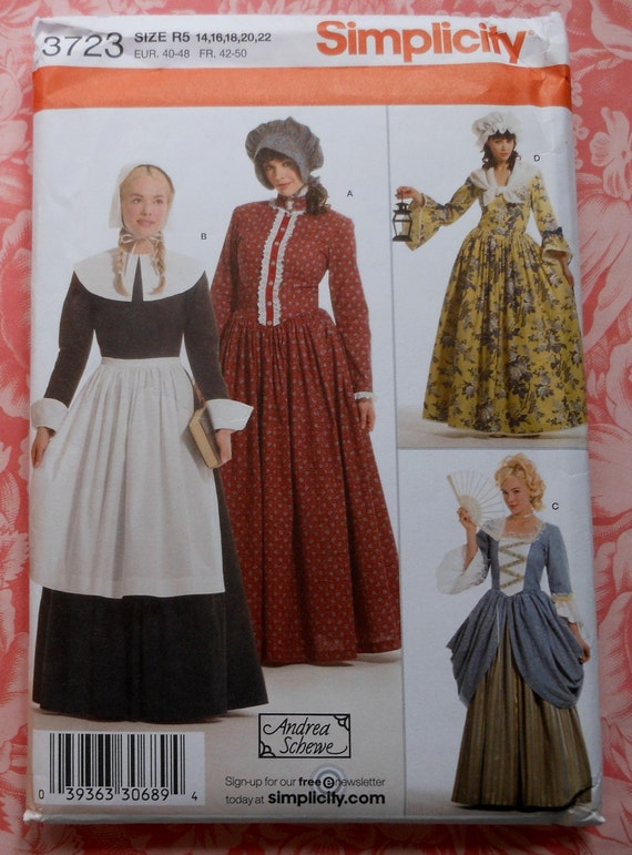 Colonial Dress Gown Costume Sewing Pattern UNCUT Simplicity   Etsy