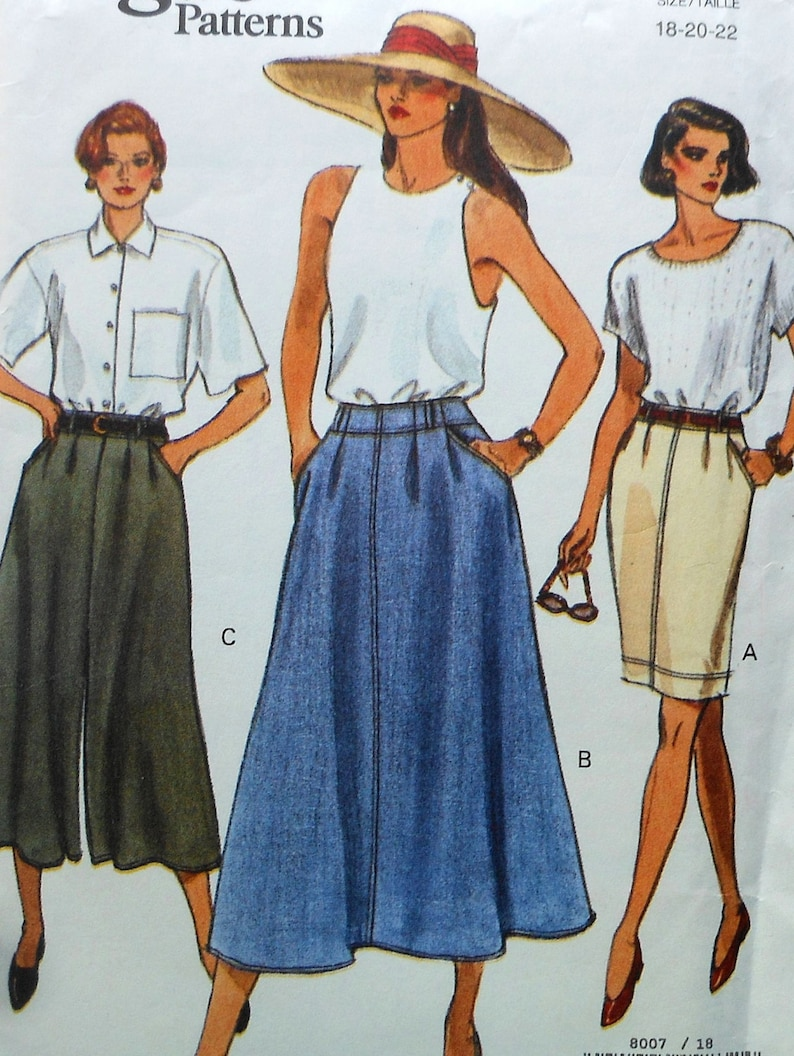 2ef741d8ebde5 Skirt Sewing Pattern UNCUT Vogue 8007 Sizes 18-22 Plus Size