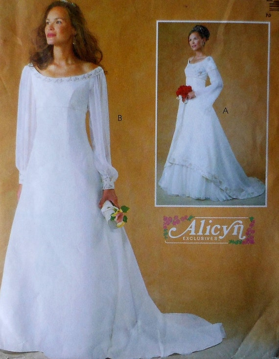 Empire Style Wedding Gown Sewing Pattern UNCUT McCalls 4300 | Etsy