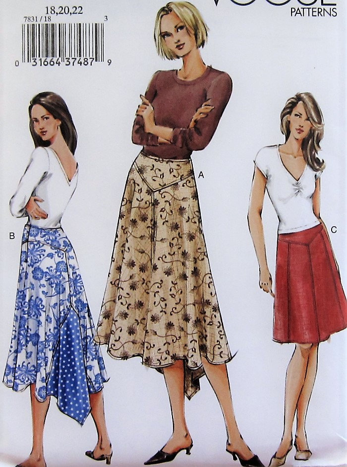 8baac6f2dbc1e Skirt Sewing Pattern UNCUT Vogue V7831 Sizes 18-22 Plus Size