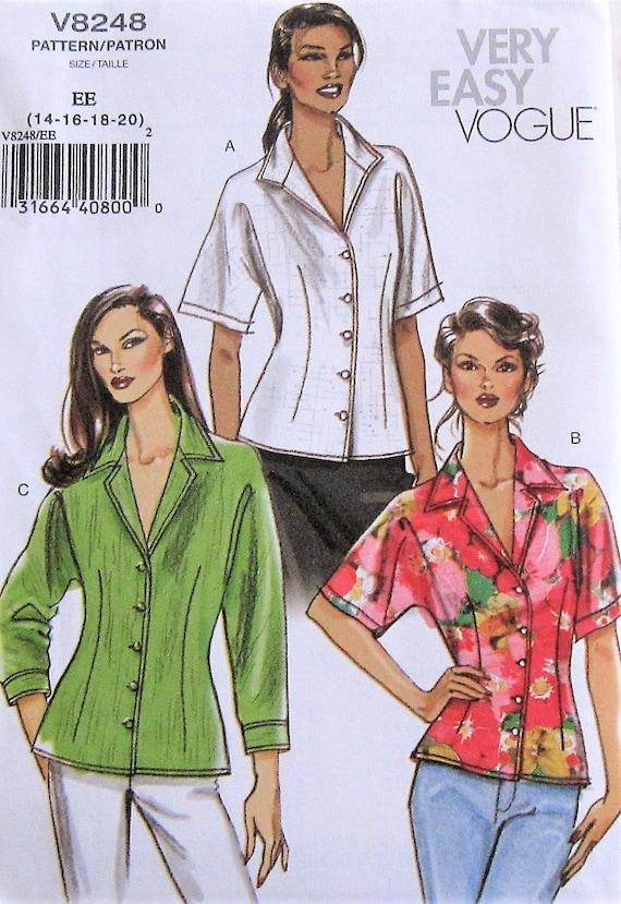 63fbcf5b3b650 Shirt Sewing Pattern UNCUT Vogue V8248 Sizes 14-20 Plus Size